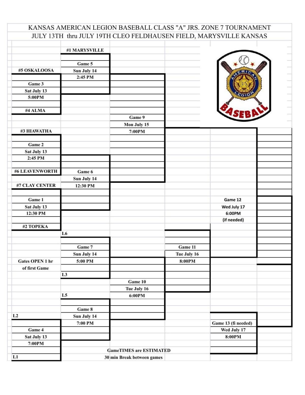 Zone tournament bracket