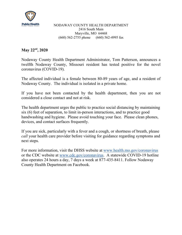 Nodaway County Health Department news release