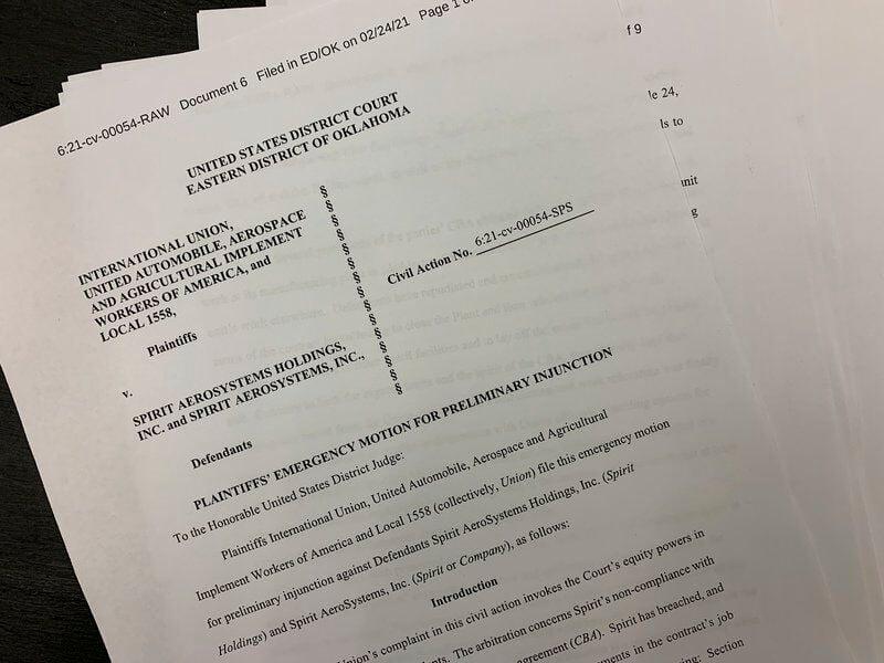 Court hearing set between UAW and Spirit representatives