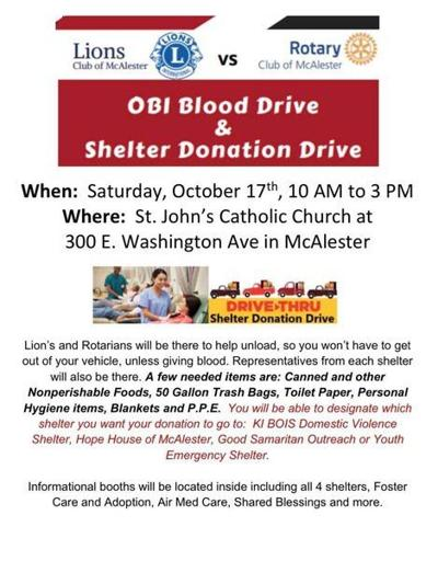 5 THINGS TO KNOW: Oklahoma Blood Institute Blood Drive and Shelter Donation Drive