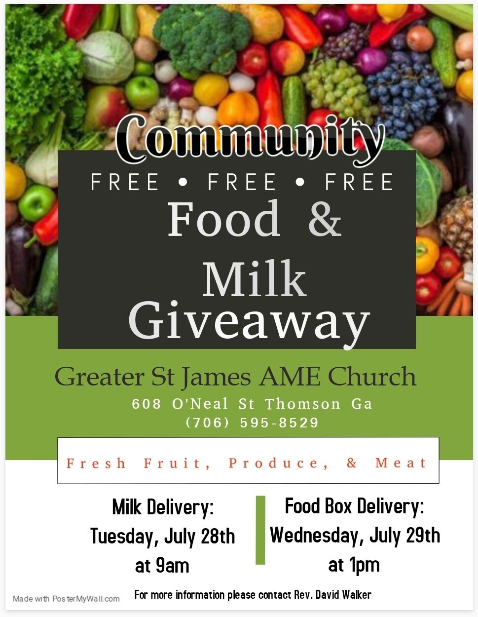 Church to provide free milk and food this week