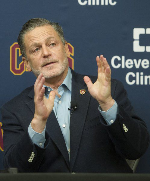 953943f5dd2 Cavs owner vows to never move team from Cleveland. Cleveland Cavaliers  chairman Dan Gilbert gestures during a July press conference ...