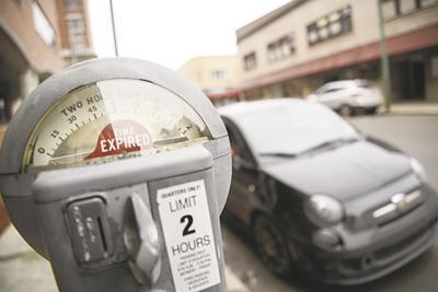 Car near parking meter
