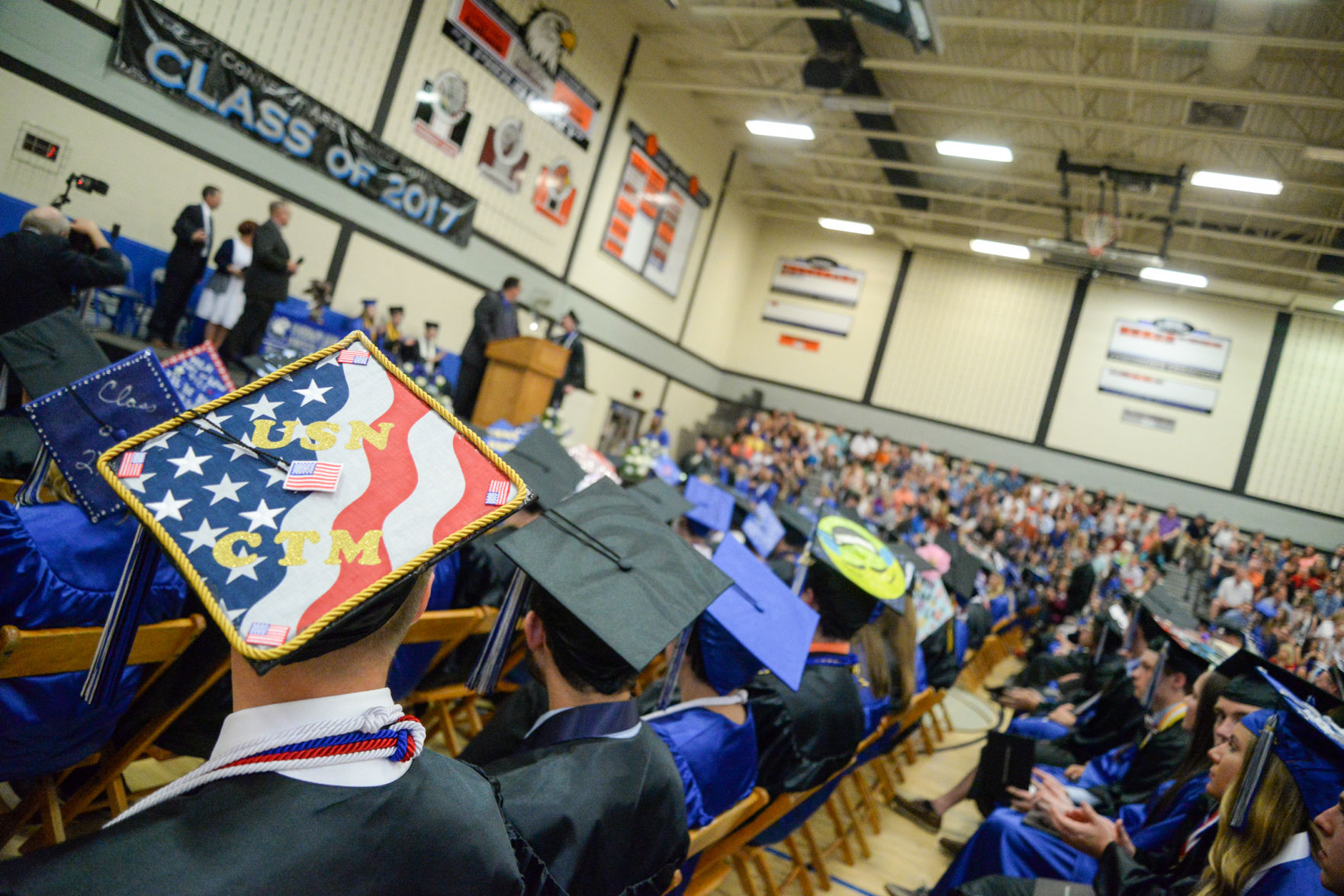 high school resume%0A Many students of the Conneaut Area Senior High School Class of       decorated their mortarboards for