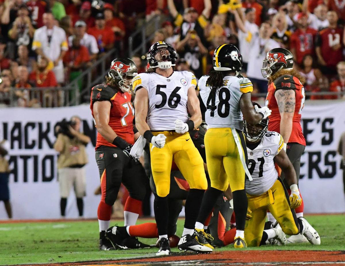 Pittsburgh Steelers linebacker Anthony Chickillo reacts after sacking Tampa  Bay Buccaneers quarterback Ryan Fitzpatrick during an NFL game on Monday  night. 380f8afaa