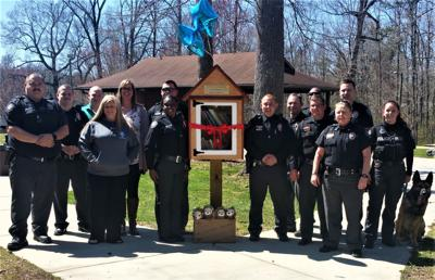 Mebane Police Department erects free library at Holt Street Park