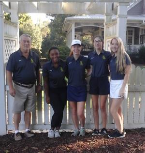 "<p class=""p1""><span class=""s1"">Eastern Alamance had two golfers participate in the NCHSAA 3A Central Region golf championships, which were held at Greensboro National Golf Course in Greensboro National Golf Club in Summerfield on Oct. 15. Sophomore Chandler Bryant (second from left) posted a 38th place finish out of 73 golfers participating in the regionals with her score of 99, while junior Riley Beck (right) finished in 46th place overall for the Eagles with a score of 104.</span></p>"