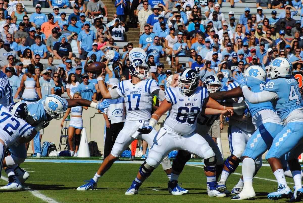 Duke quarterback Daniel Jones prepares to throw