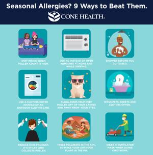 <p>Cone Health offers helpful tips to relieve springtime allergies.</p>
