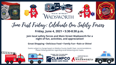 Medina County News Wadsworth:  Facebook Banner June First Friday: Celebrate Our Safety Forces