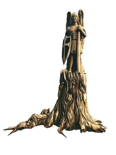 Lighting-struck oak carved into archangel
