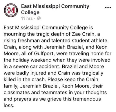 EMCC football player killed, two injured in Clarke County wreck