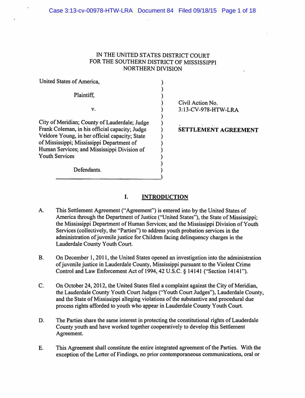 Download PDF DOJ Settlement Agreement With State
