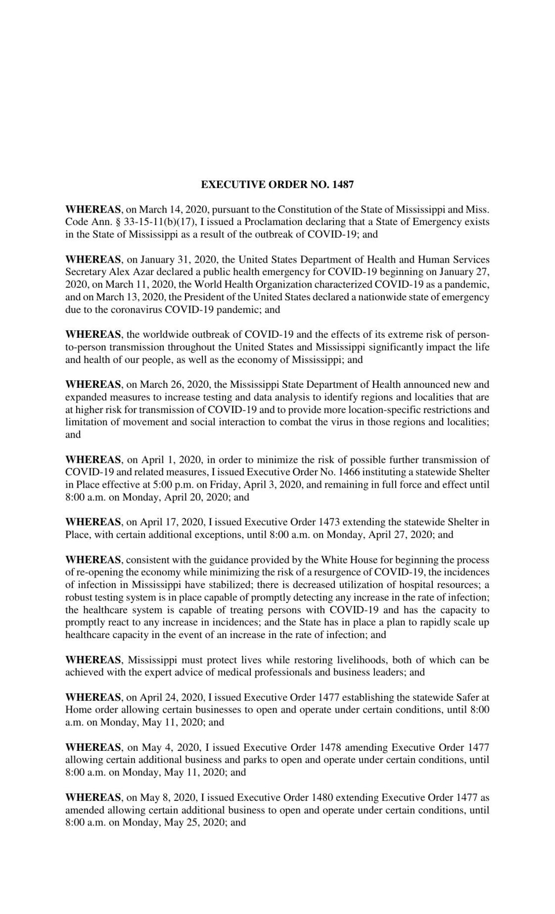 Mississippi Executive Order issued May 22