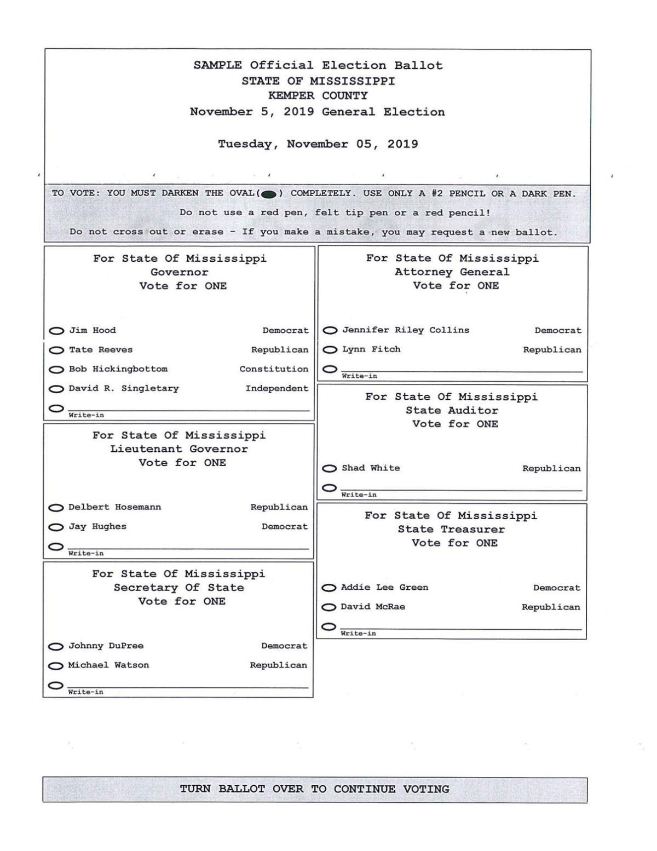 Sample ballot for Kemper County