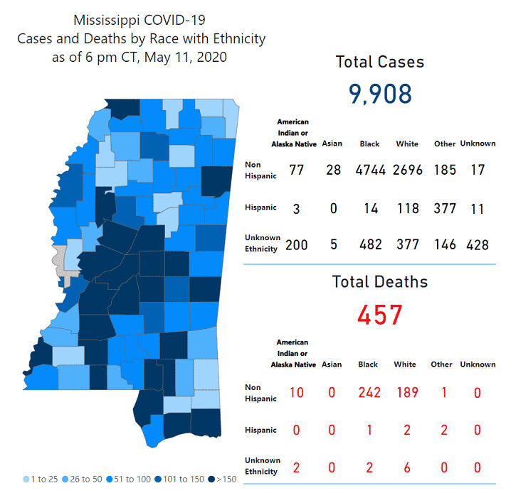 Mississippi COVID-19 map May 11