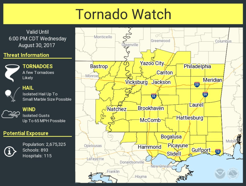 Tornado watch until 8 pm; County, city schools cancel afternoon, evening activities