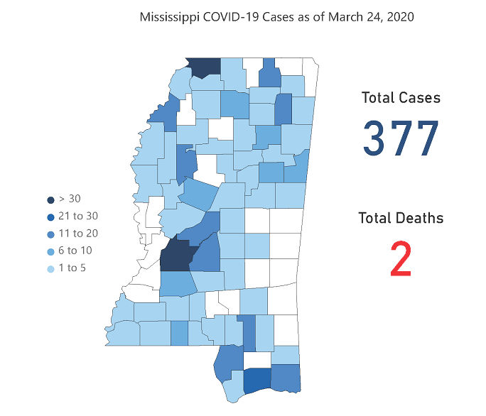 Mississippi COVID-19 map March 25, 2020