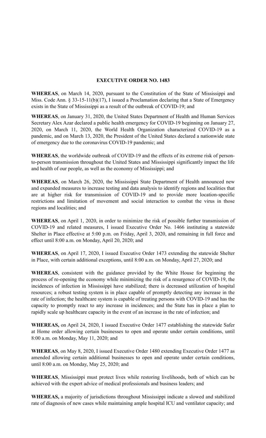 Gov. Tate Reeves' Executive Order issued May 12