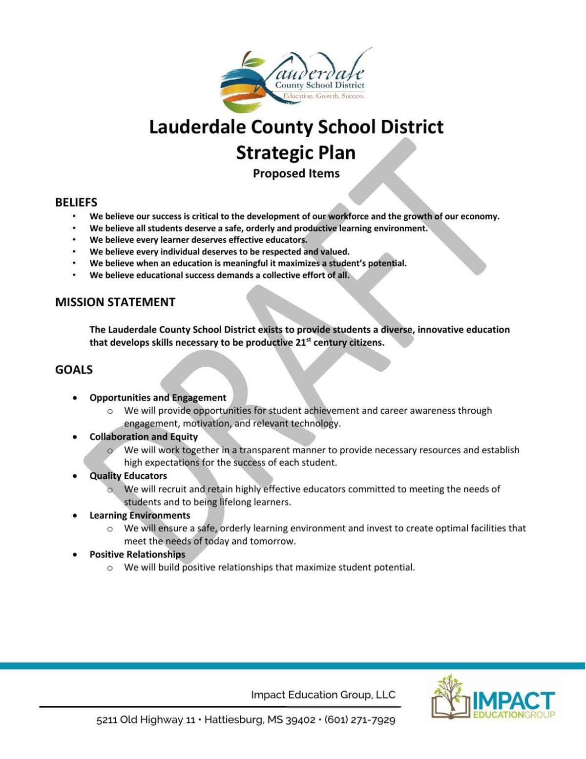 Lauderdale County School District Strategic Plan