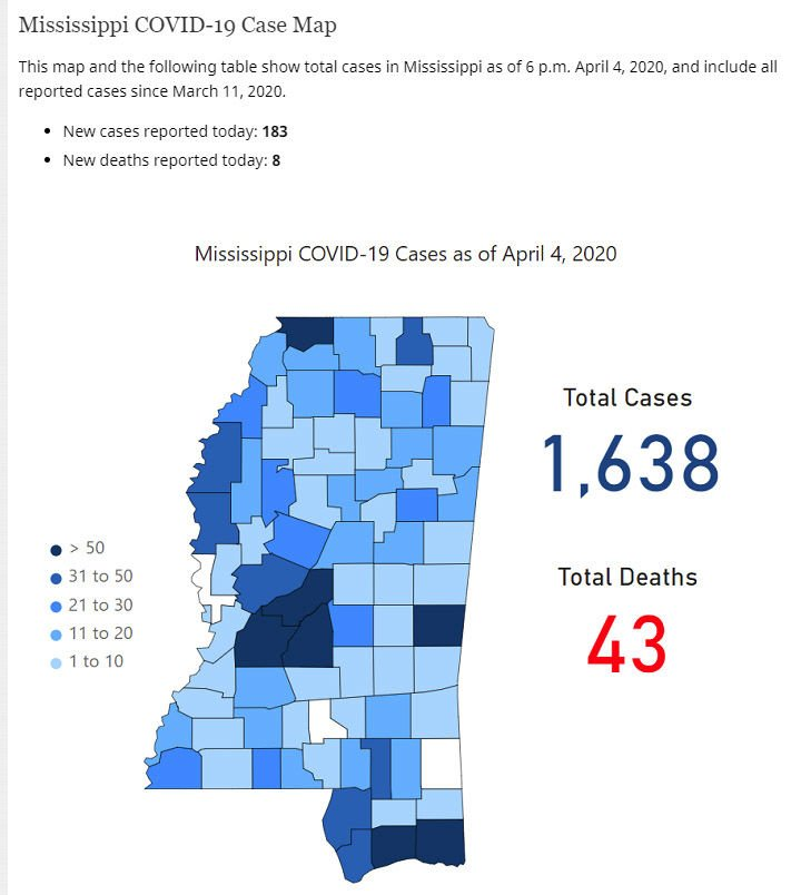 Mississippi COVID-19 map April 5, 2020