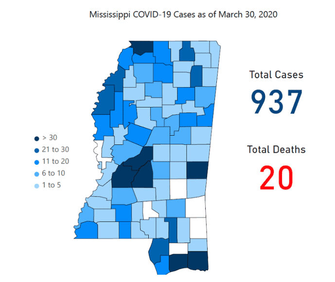 Mississippi COVID-19 map March 31, 2020