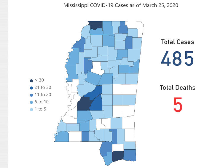Mississippi Department of Health COVID-19 map March 26, 2020