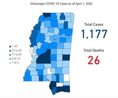 Mississippi COVID-19 map April 2, 2020