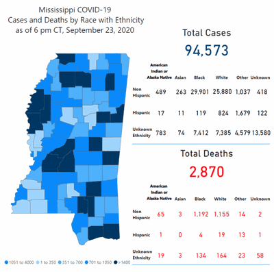 Mississippi COVID-19 map
