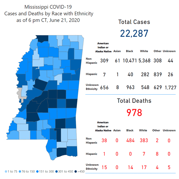 Mississippi COVID-19 map June 22