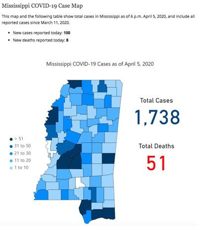 Mississippi COVID-19 map April 6, 2020