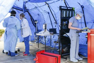 Rush Foundation Hospital sets up emergency department triage tent