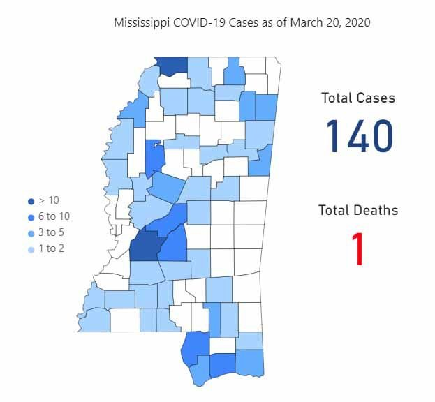 Mississippi COVID-19 map March 20