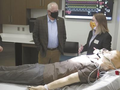 Gov. Tim Walz visits a training room