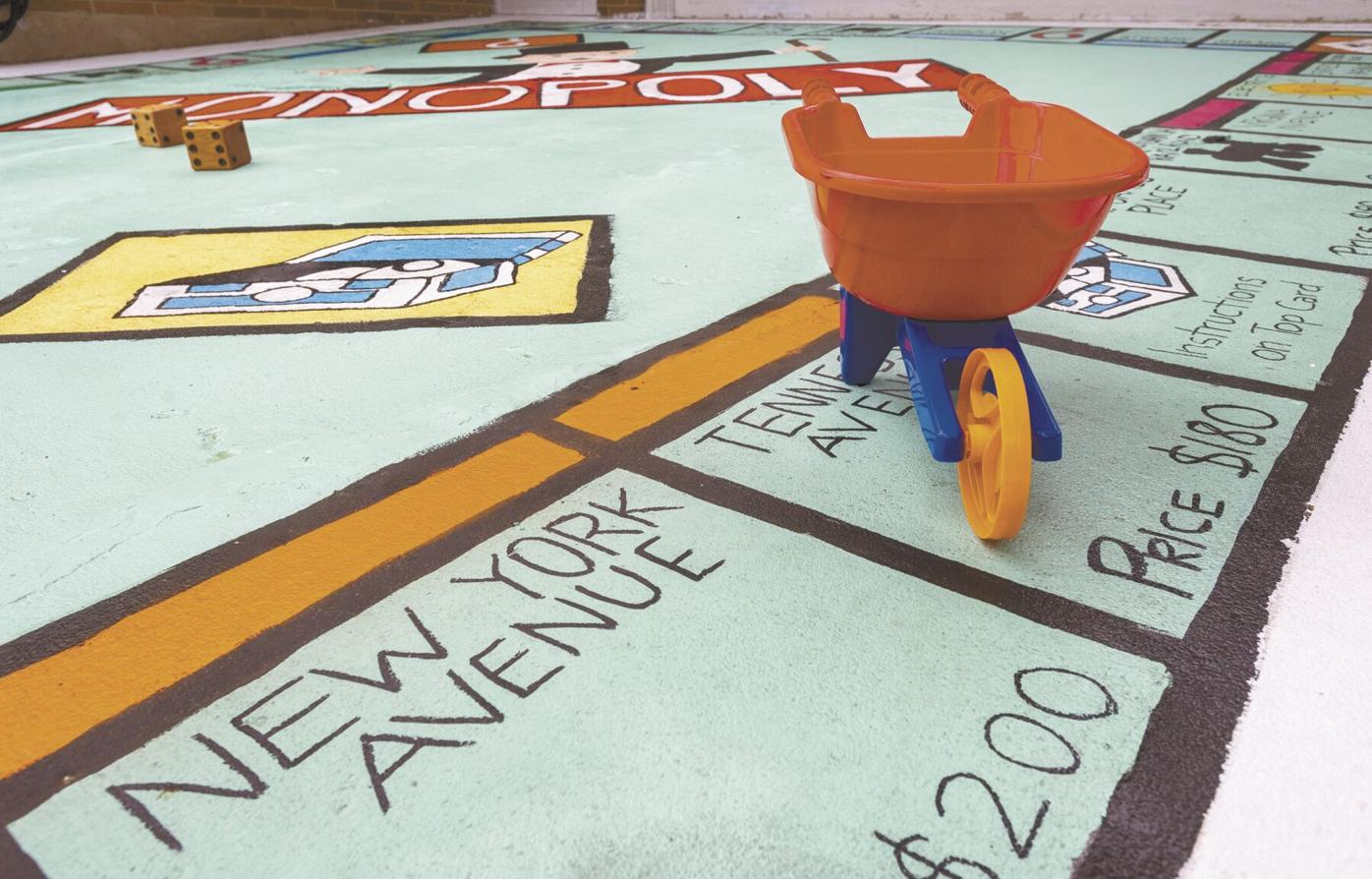 life-sized Monopoly game board