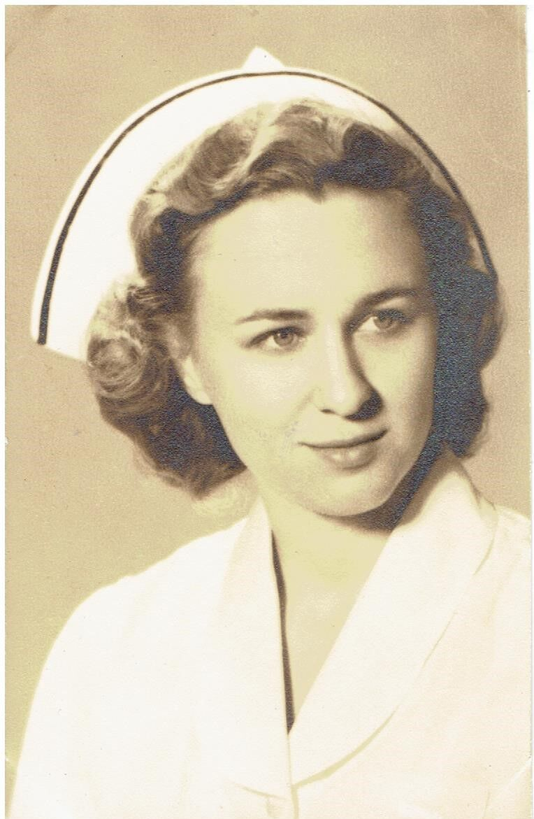 Sylvia Lindholm Maki is pictured as a young nurse.