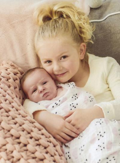 Big sister Elliot Mary and baby  Emerson Rose Micheletti