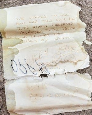 Message in a bottle sent by Calhoun family found in Tennessee