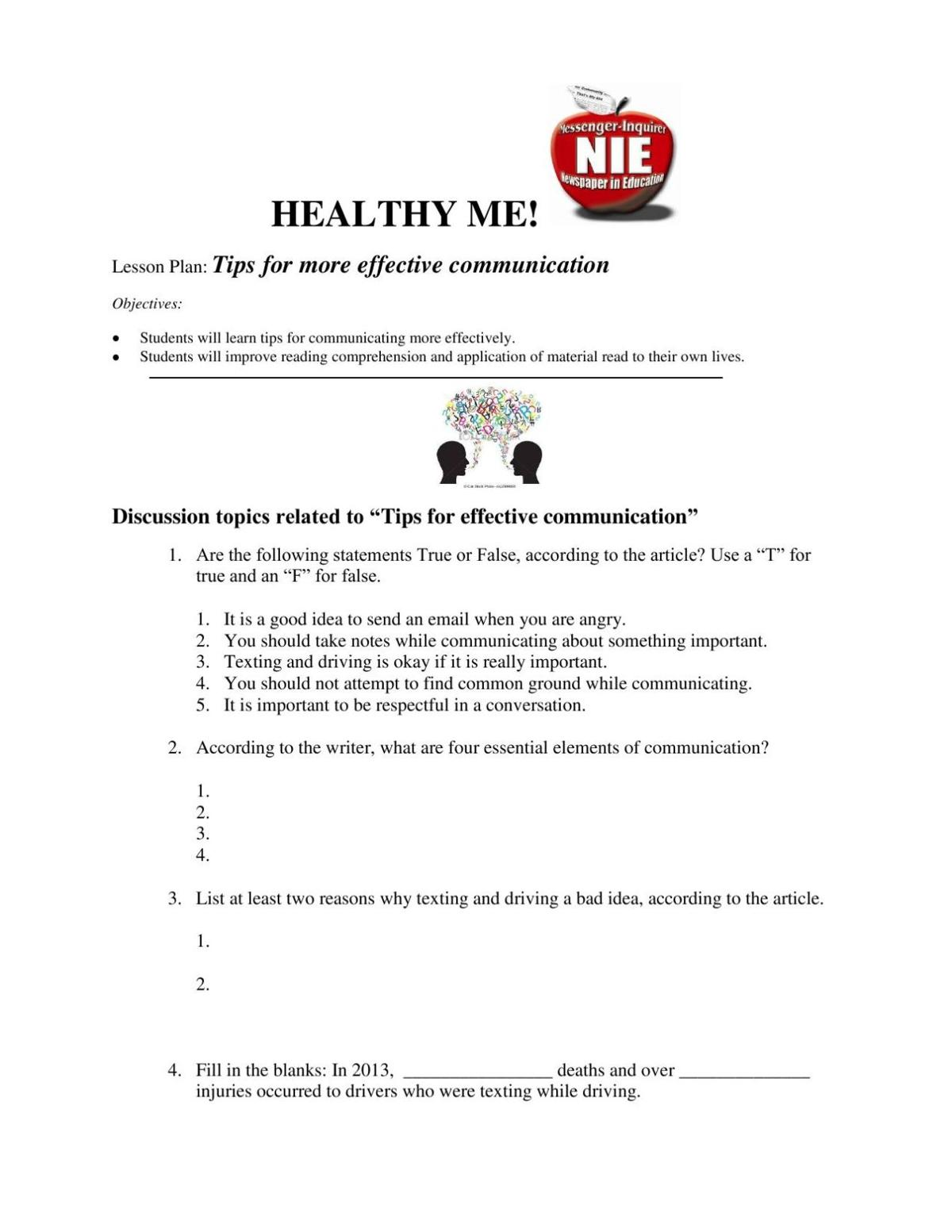 Healthy Me! Tips for More Effective Communication-Quiz | NIE