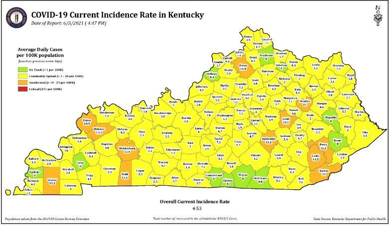 Kentucky COVID incidence rate map 6/3/21