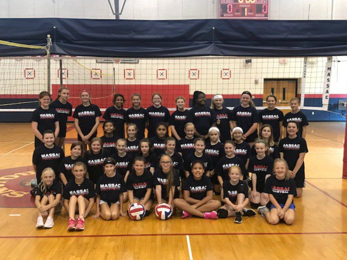 Kids attend volleyball camp