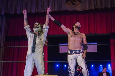 Livid the Clown (L) and his partner Wes Rogers (R), collectively known as Simply Safe-ish, will compete for the VCW Tag Team Championships this weekend in Suffolk.