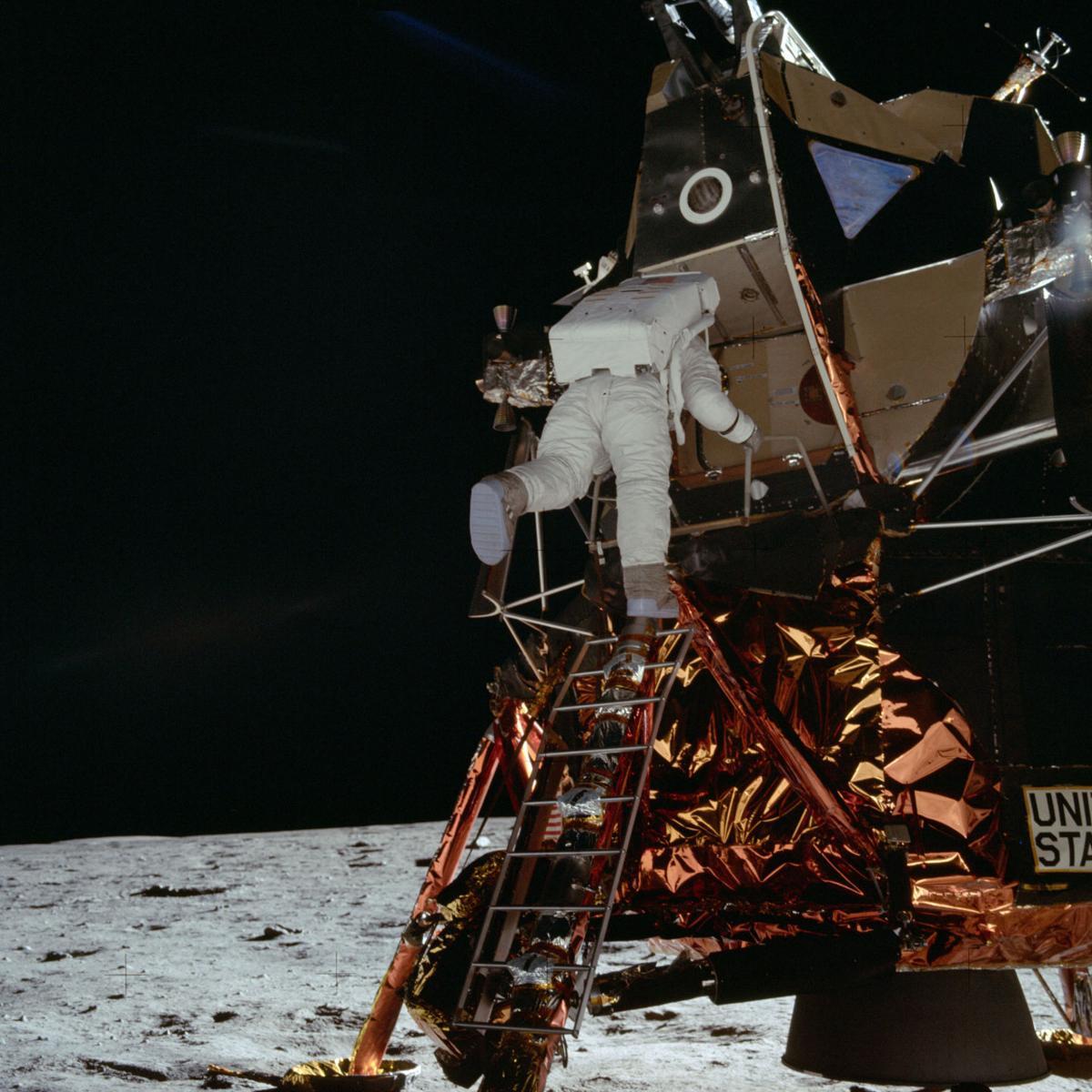 Apollo 11 Mission image - Astronaut Edwin Aldrin descends the Lunar Module ladder