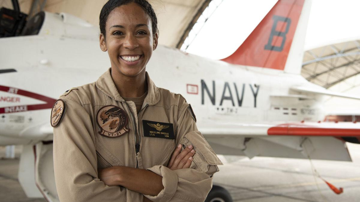 US Navy's first black female tactical air pilot earns wings of gold