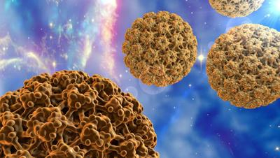 Human Papillomavirus type 16 on surrealistic background (HPV). A