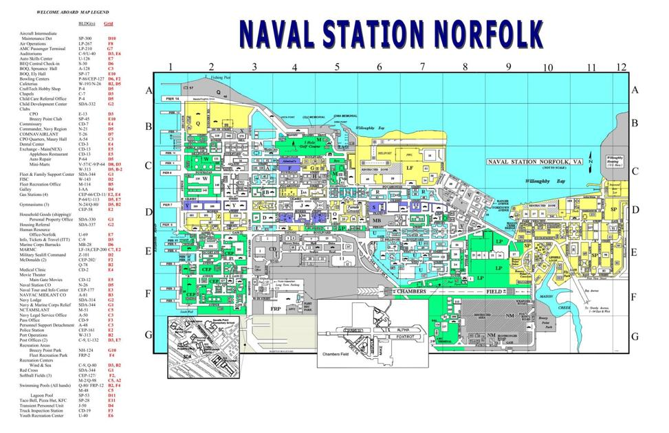 Map Of Naval Station Norfolk Relocation Militarynewscom - Us navy bases map