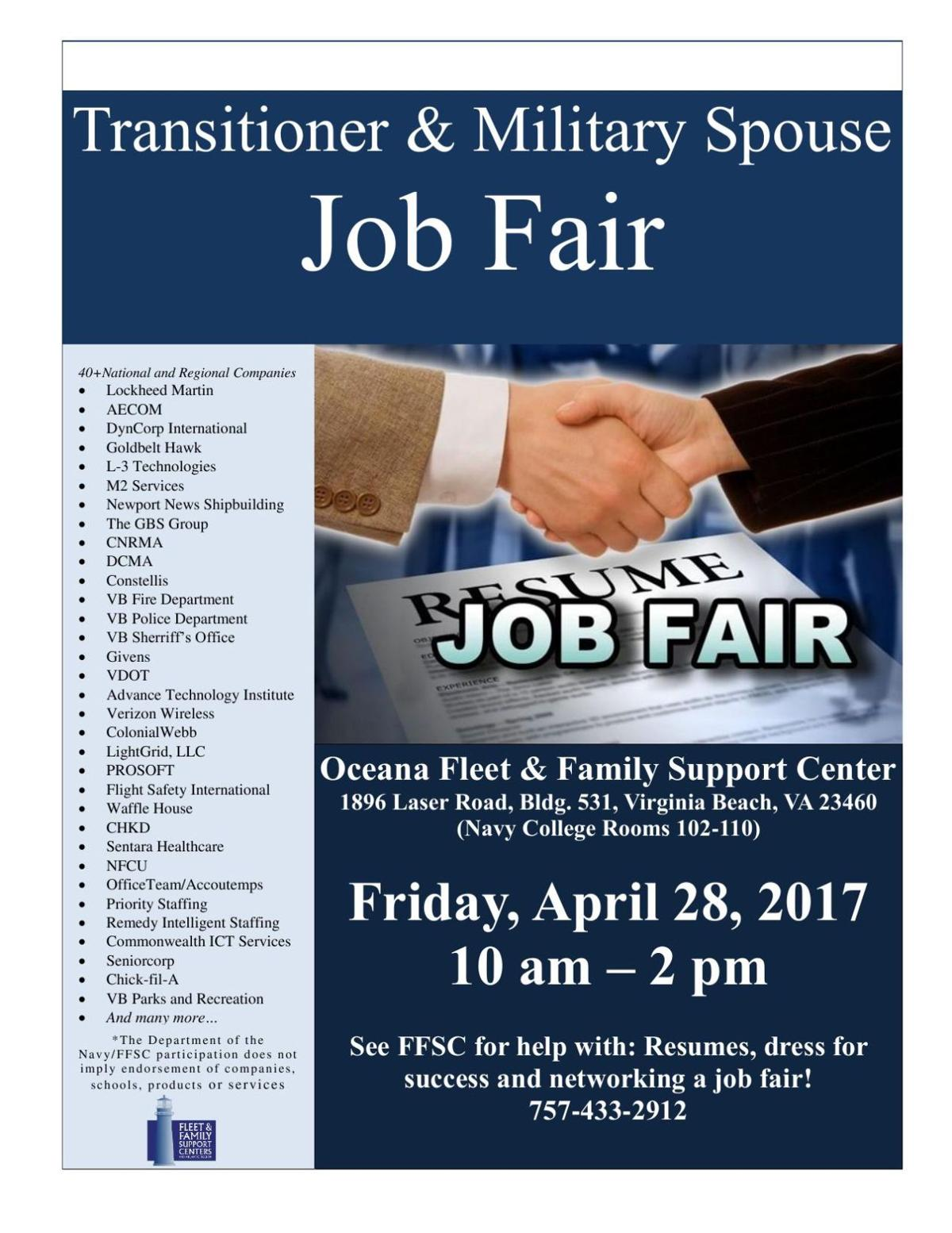 download pdf oceana transitioner and military spouse job fair