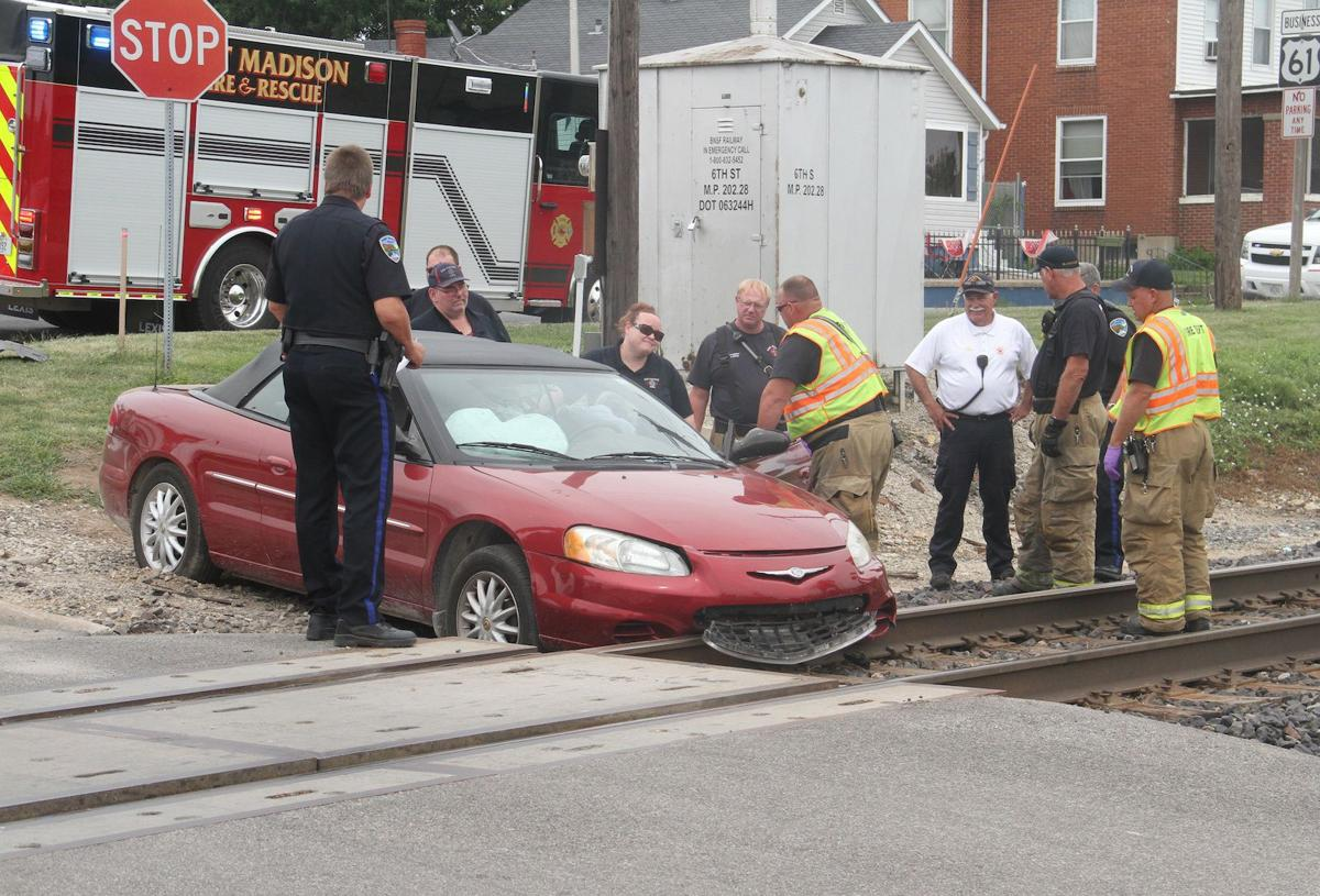 Accident leaves car front on track