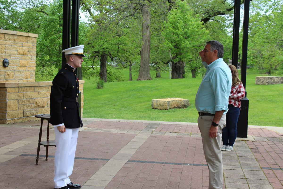 Lieutenant receives first salute from dad