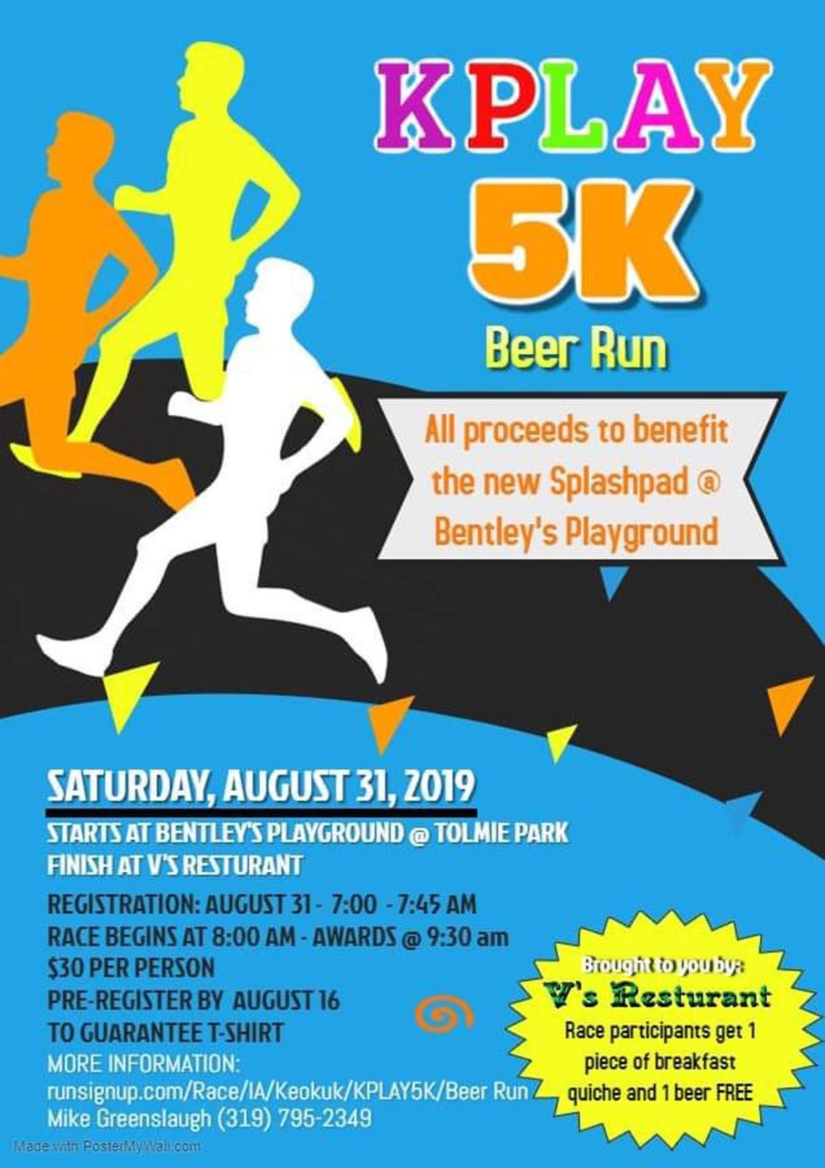 KPlay 5K Beer run poster